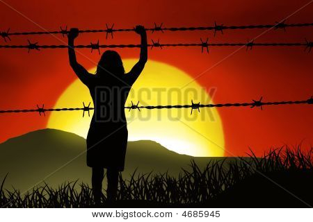 a woman is captured behind barbed wire poster