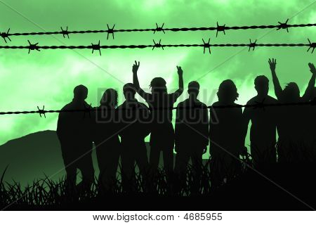 people are captured behind the barbed wire poster