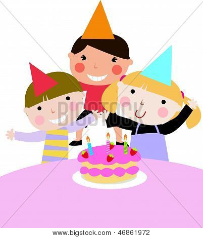 Children and birthday party -illustration art