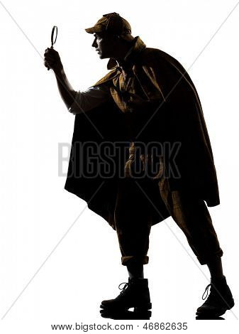sherlock holmes silhouette in studio on white background