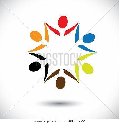 Conceito vetor gráfico - colorido feliz Party People Icons(symbols)