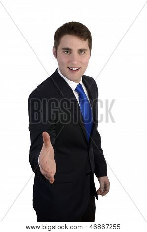 Young Business Man Giving Hand