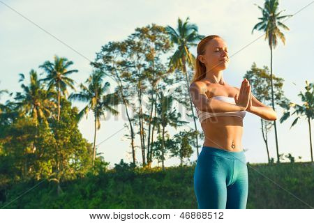 Yoga greeting the sun