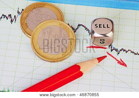 Downtrend Financial Chart, Euro Money Coins, Red Pencil And Dice Cube With ??? Word Sell. Selective
