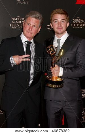 LOS ANGELES - JUN 16:  Jeff Ballard, Chandler Massey in the press area at the 40th Daytime Emmy Awards at the Skirball Cultural Center on June 16, 2013 in Los Angeles, CA