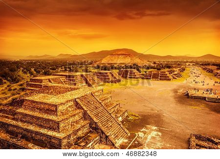 Pyramids of the Sun and Moon on the Avenue of the Dead, Teotihuacan ancient historic cultural city, old ruins of Aztec civilization, Mexico, North America, world travel poster