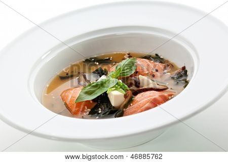 Japanese Cuisine - Miso Soup with Salmon, Seaweed and Tofu Cheese poster