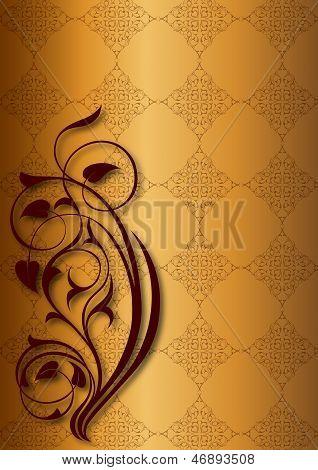 Golden floral patterns on golden background