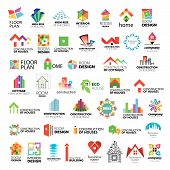 Collection of vector icons of design construction and home improvement poster