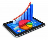 Mobile office stock exchange market trading, statistics accounting, financial development and banking business concept: tablet PC with stock market app, bar chart and pie diagram isolated on white poster