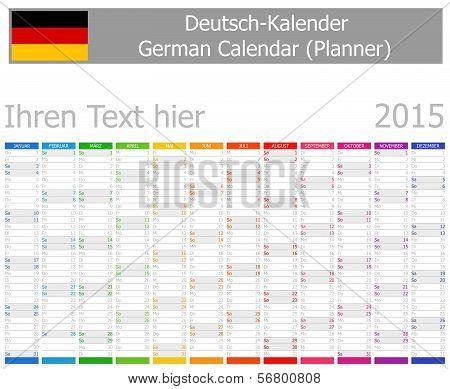 2015 German Planner Calendar with Vertical Months