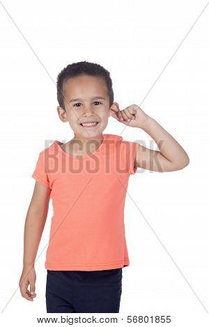 Little Boy With Orange Shirt