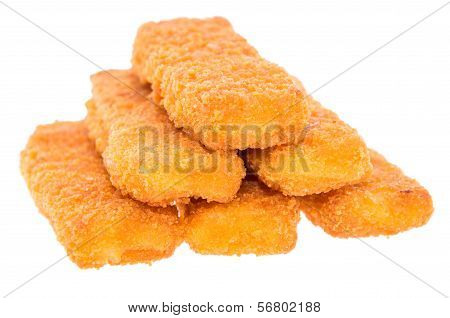 Stacked Fish Fingers Isolated On White