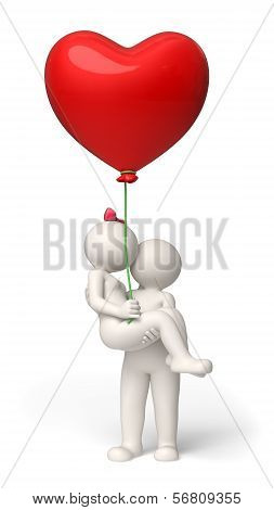 3D Couple In Love On Valentines Day - Red Heart Balloon