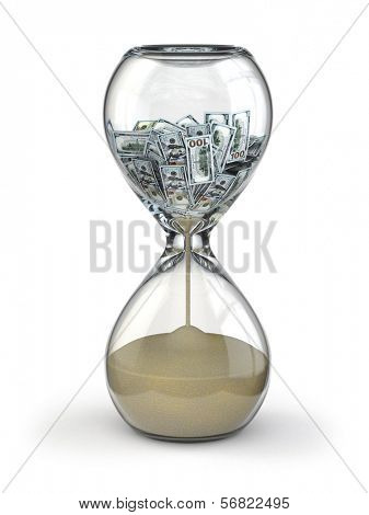 Time is money. Inflation. Hourglass and dollar. 3d