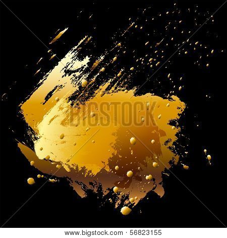 Vector brush stroke and paint splashes. Abstract design element. Gold. poster