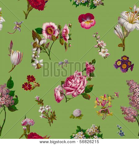 Victorian Flowers Seamless Background