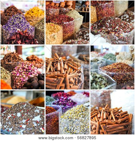 collage of photos taken on the spices market in Dubai, UAE
