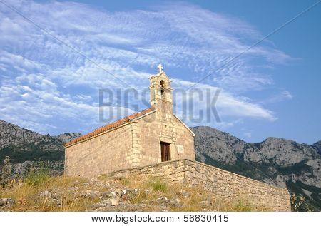 Saint Sava Church on Island Of Sveti Stefan, Montenegro poster