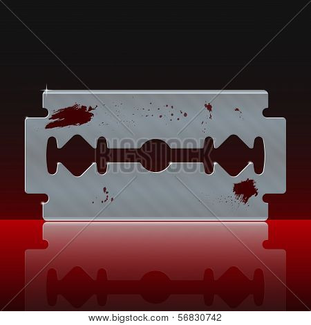 Razor Blade Stained with Blood