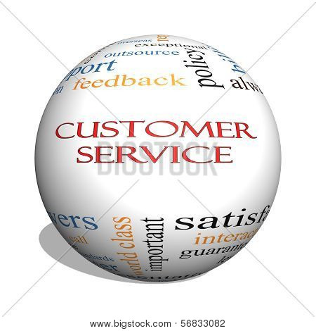 Customer Service 3D Sphere Word Cloud Concept