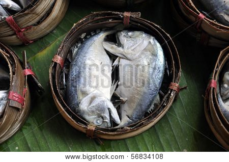 Mackerel Fish Bamboo Basket Thailand