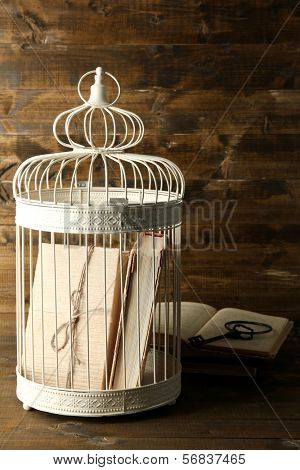 Books in decorative cage  on wooden background