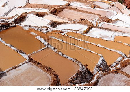 Peru, Sacred Valley, Traditional Salt Mine In Maras