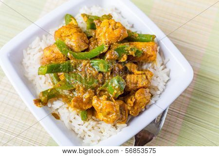 Chicken Jalfrezi - Spicy Indian or Pakistani Curry, with green peppers and hot sauce