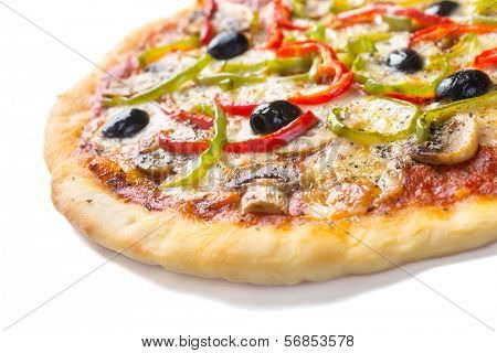 Delicious  Mushroom and Vegetable Pizza Isolated on White