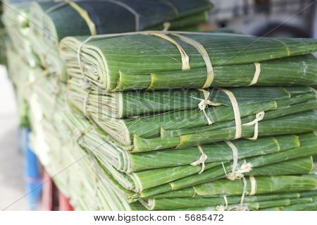 Banana leafes at a asian vegetable market