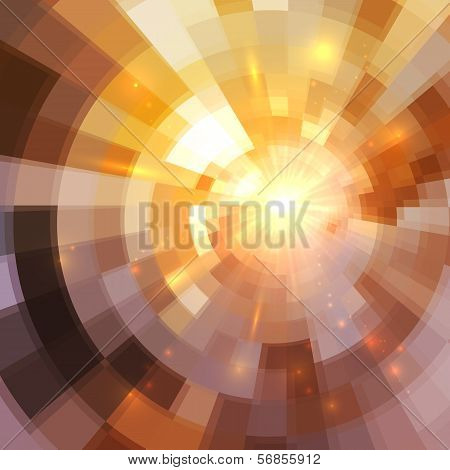 Abstract shining lights vector golden mosaic background poster