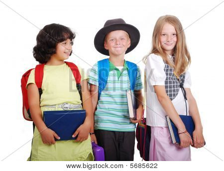 School Children With Bags And Books, Isolated