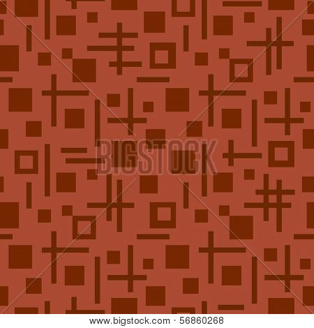 tetragonal seamless pattern with brown squares and lines square