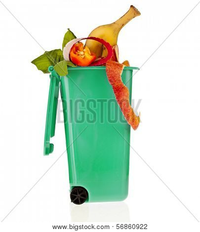 Trash bin full of garbage  isolated on white background