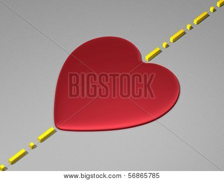 Red heart on light grey surface with boundary line