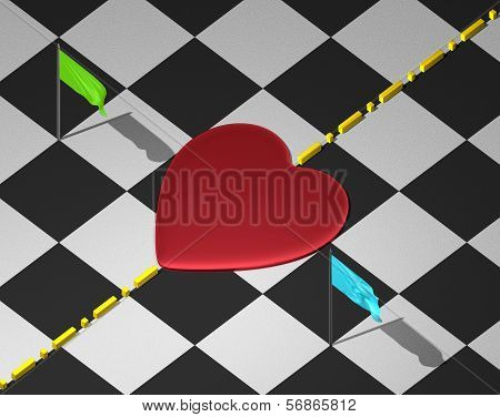 Red heart on checkered surface with divisional line and flags