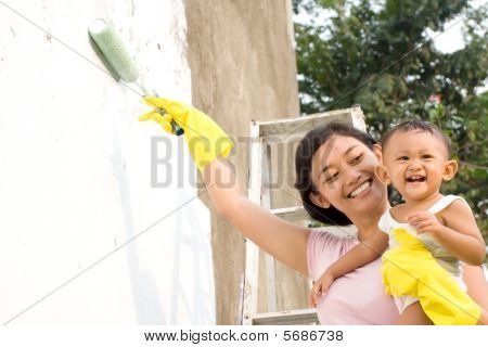 Mother and Baby Painting Together