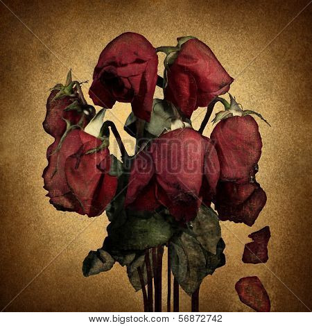 Lost love and broken heart emotions concept with wilted dying red roses and falling petals on old parchment grunge texture as a symbol of grief and sadness from relationship failure and romance rejection. poster