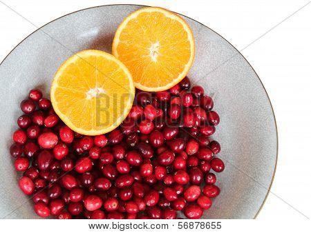 Fresh cranberries and orange