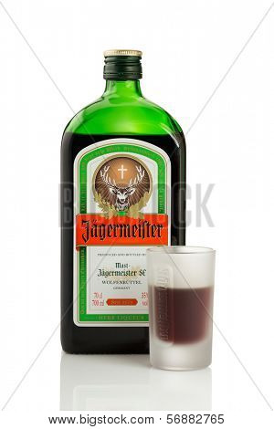 Sarajevo, Bosnia and Herzegovina - January 11, 2014: Studio shot of a bottle of Jagermeister digestif. Jagermeister is a German 70-proof digestif made with 56 different herbs and spices.