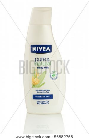 Sarajevo, Bosnia and Herzegovina - January 11, 2014: Studio shot of a bottle of Nivea Body Milk. Nivea is a global skin- and body-care brand that is owned by the German company Beiersdorf.