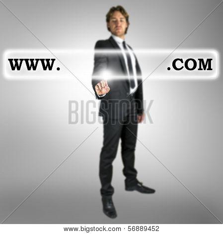 Businessman Activating A Website Address Bar