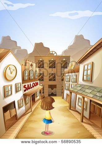 Illustration of a small girl near the saloon bars