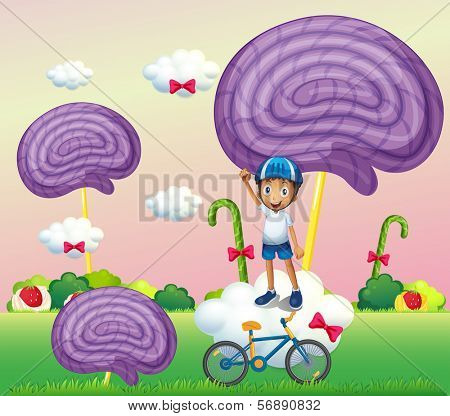 Illustration of a boy above a cloud near the candyland