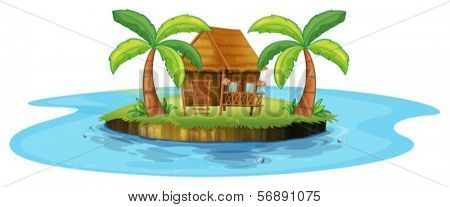 Illustration of a small nipa hut in an island on a white background