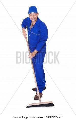 Happy Sweeper Cleaning Floor On White Background poster