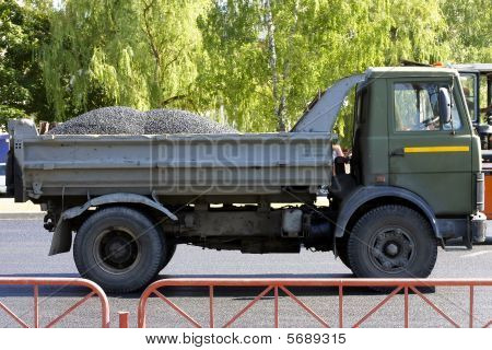 The Lorry Loaded By Asphalt