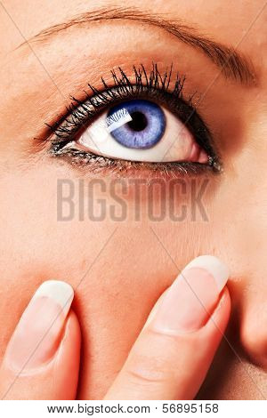 Caucasian Girl's Blue Eye