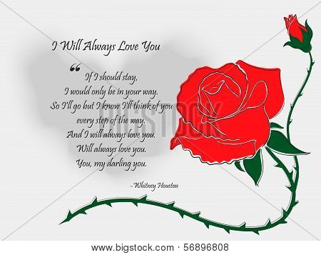 Letter with Drawn by Hand Rose